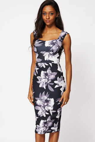 Floral Sweetheart Bodycon Midi Dress Ex-Branded-Black-8