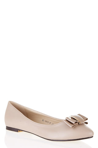 Ballerina Shoes With Bow Detail-Beige-UK 6 - EU 39