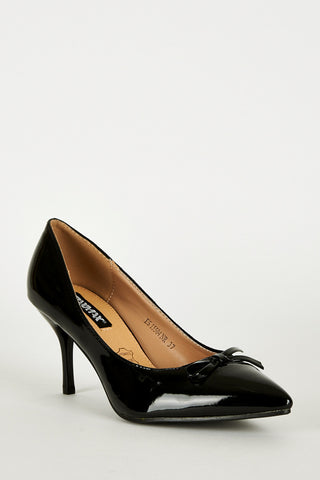 Pointed Toe Panel Court Shoes In Black-Black-UK 8 - EU 41