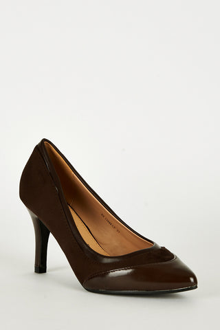 Brown Panel Pointed Court Shoes-Brown-UK 8 - EU 41