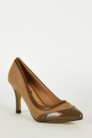 Mocha Panel Pointed Court Shoes-Mocha-UK 8 - EU 41