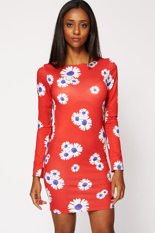Fitted Red Dress with Sunflower Print Ex Branded-Red-UK 16 - EU 44