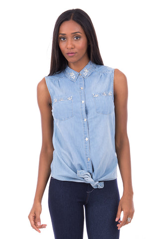 Denim Shirt With Beaded Detail AVAILABLE IN PLUS SIZES-Denim-UK 14 - EU 42