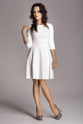 White 3/4 Inch Sleeve Flared Dress