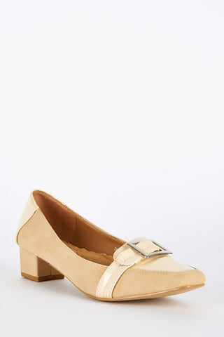 Large Size Patent Detail Block Heel Shoes-Beige-UK 10 - EU 43