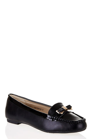 Bow Buckle Detail Loafers-Black-UK 6 - EU 39