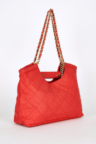 Quilted Chain Strap Shoulder Bag In Red-Red