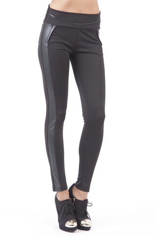 Black Stretch Trousers with Faux Leather Detail-Black-UK 6-8  - EU 34-36