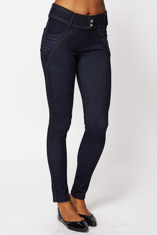 Studded Detail Jeggings with Belt Loops and Pockets-Navy-M/L - UK (6-8)