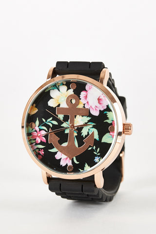Floral And Anchor Design Silicon Strap Watch-White