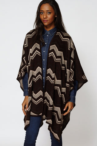 Zig Zag Print Open Poncho Cape-Multi-One Size