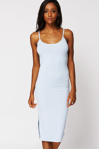 Strappy Ribbed Bodycon Midi Dress with Side Slit Ex-Branded-Light Blue-UK 14 - EU 42