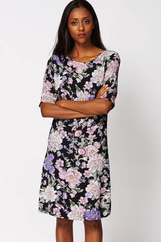 Black Flower Print Shift Dress EX-branded-Black-UK 12 - EU 40