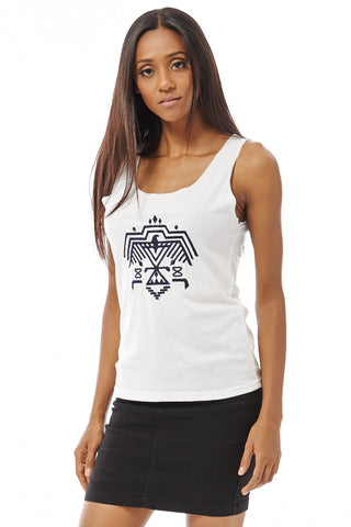 Tank Top with Embroidered Tribal Eagle Design-White-L