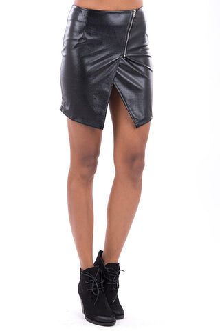 Faux Leather Mini Skirt-Black-Large - UK (12-14)