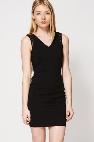 Crochet Back Panel Shift Dress-Black-L