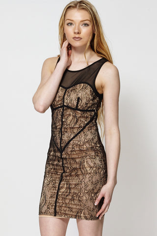 Mesh Top Lace Bodycon Dress-Black-L