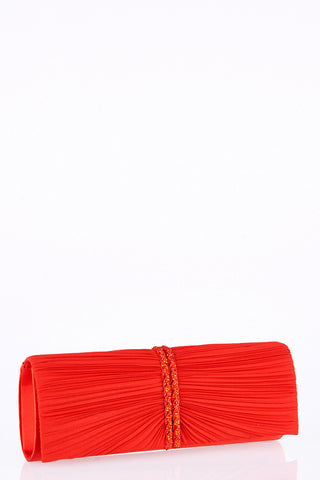 Glitter Detail Clutch Bag-Red