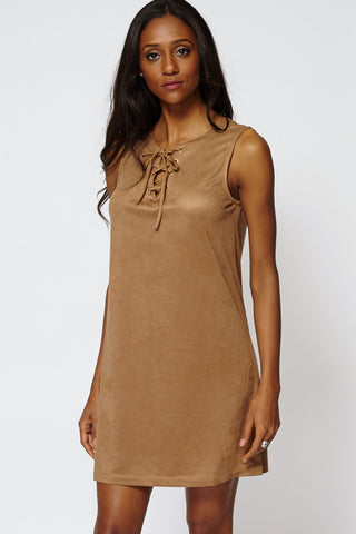 Faux Suede Lace Up Shift Dress-Brown-12