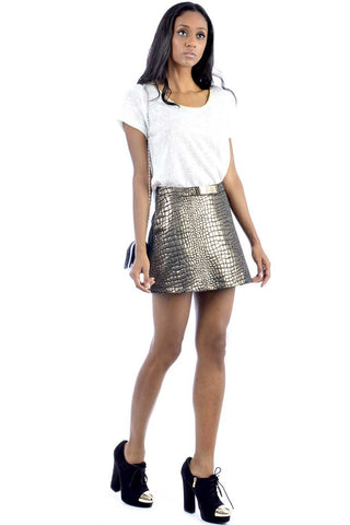 Snakeskin Look Mini Skirt
