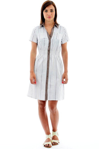 Collared Shirt Dress-Blue -12
