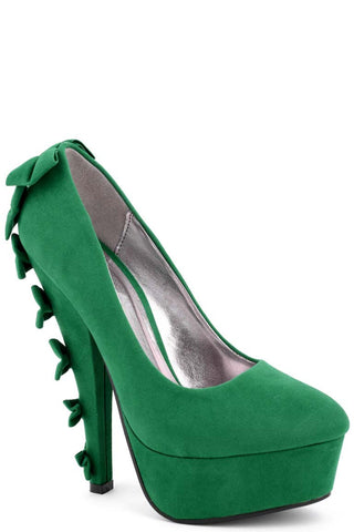 Faux Suede Shoes With Bow Detailed Heel-Green-UK4-EU37