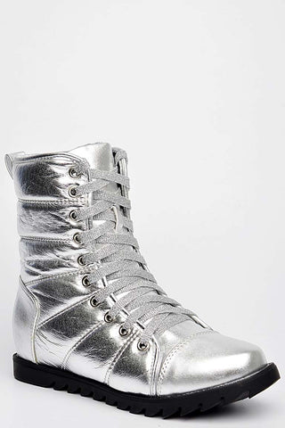Metallic Military Boots