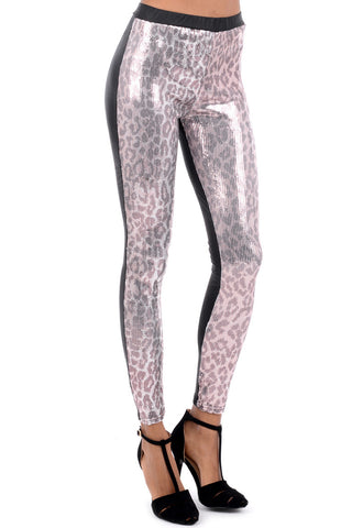 Silver Snakeskin Sequin Leggings