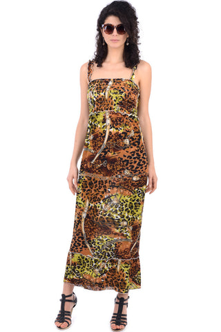 Animal Print Maxi Dress With Elasticated Bust