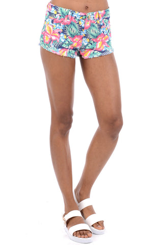 Floral Summer Shorts With Frayed Hem