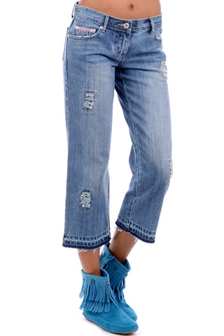Blue Flared Ripped Jeans with Pink Bead Detail