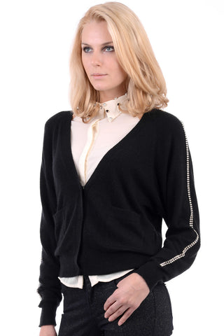 V Neck Open Front Cardigan With Diamante Detail