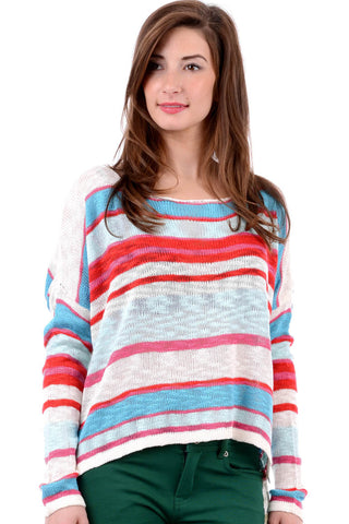 Wide Stripe Copped Dip Hem Jumper