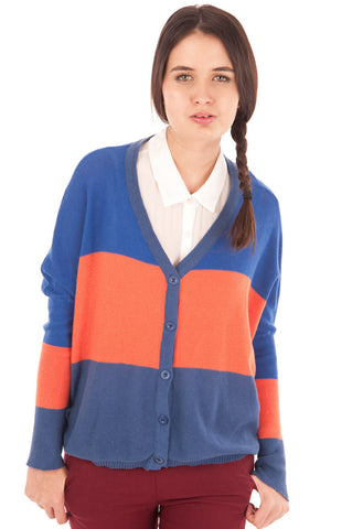 Colour Block Oversized Box Cardigan