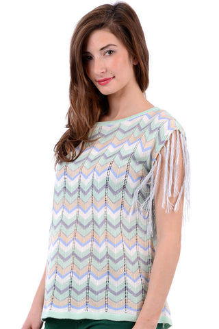 Zigzag Print Jumper With Fringed Sleeves