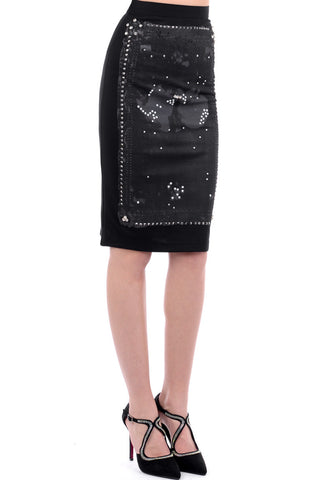 Bodycon Midi Skirt with Embellishment