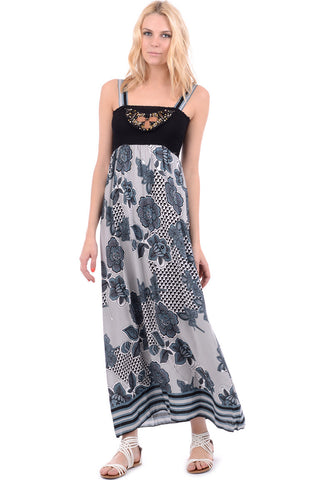 Floral Print Maxi Dress With Elasticated Bust