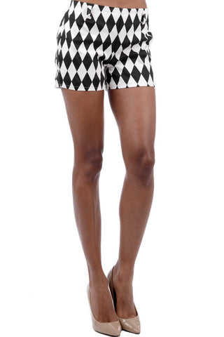 Black And White Diamond Print Shorts