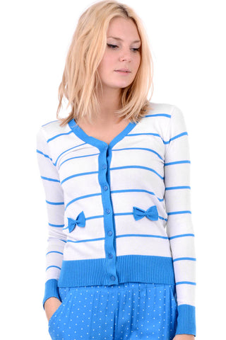 Horizontal Striped V Neck Cardigan