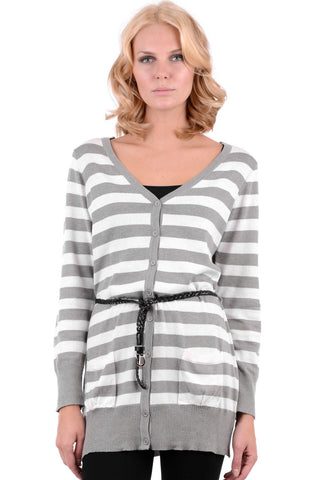 Striped V-Neck Cardigan With Belt