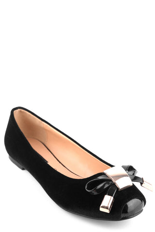 Suede Look Pumps With Patent Toe And Bow-Black-UK3-EU36