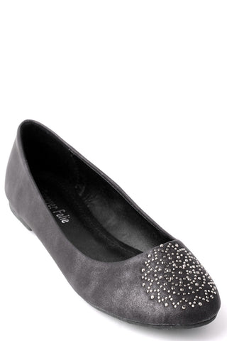 Flat Pumps with Diamante Pattern Toe