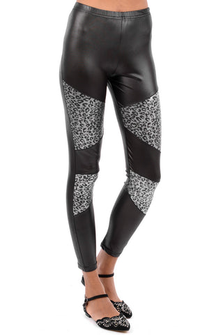 Wet Look Leggings with Silver Leopard Print Panels