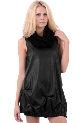 Black Faux Leather Cowl Neck Dress