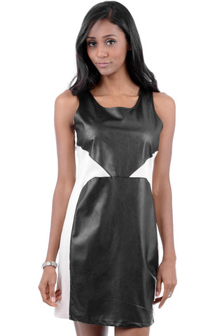 Sleeveless Dress With Faux Leather Panel