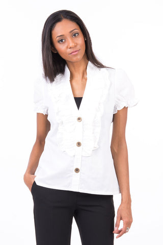 White Ruffle Front Shirt-White -Medium - UK (10-12)