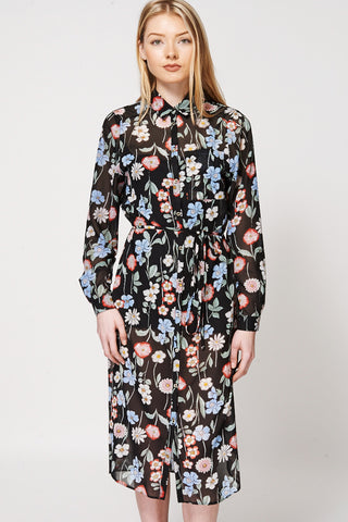 Chiffon Floral Print Button Up Kimono Dress-Floral-14
