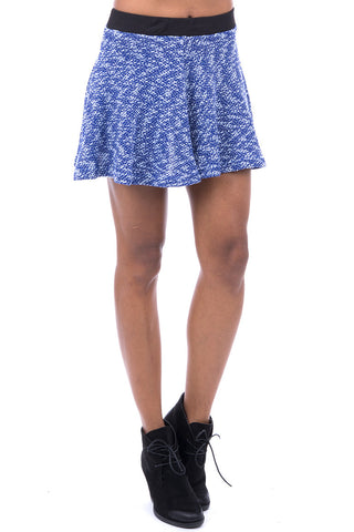 Blue Knitted Skater Skirt-Blue -UK 12 - EU 40