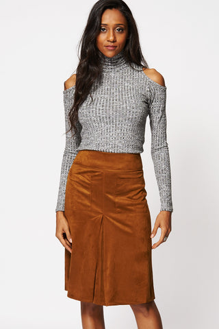 Suedette Single Pleat A-Line Skirt-Brown-14
