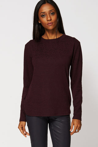 Textured Rounded Hemline Sweatshirt-Burgundy-M